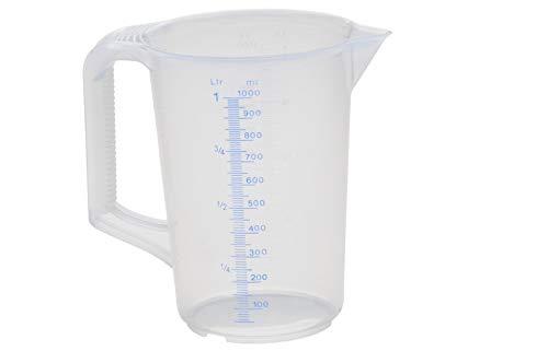 hünersdorff Messbecher (1L), bruchsicher,besonders temperaturbeständig,farbige Skala,Lebensmittelgeeignet,aus Polypropylen(PP),geschlossener Griff,transparent-blau - Mit Metall-krug Deckel