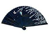 Zantec Japanisch Design Silk Handheld Faltfächer, Deep Blue w/Fine Flowers und Schmetterlinge HF-230