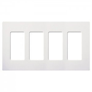 4-gang Wall Plate (Lutron CW-4-WH Claro Screwless Wall Plate 4-Gang Decora Style Gloss White-2PK by Lutron)