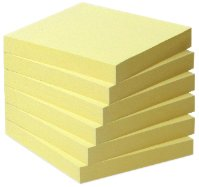 Post-it 6541B Recycling Notes Mini Tower Selbstklebende Haftnotizzettel (aus Recycling Papier, in 76 x 76 mm – 6 Notizblöcke quadratisch à 100 Blatt) gelb