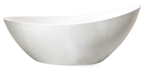 Bernstein Badshop Freistehende Badewanne VICE aus Acryl Standbadewanne in Weiß glänzend - 183,5 x 78,5 x 77 cm