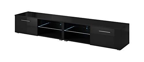 E-Com - TV-Lowboard Fernsehschrank Fernsehtisch Samuel Mit Blauer LED - (2X 120cm) - Schwarz
