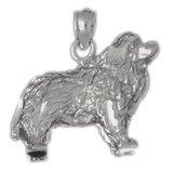 CleverEve 14K White Gold Pendant Cocker Spaniel Dog 4.6 Grams