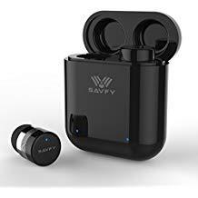 SAVFY Bluetooth 5.0 Kopfhörer Mini-Stereo-Kopfhörer Noise Cancelling Kabellose in Ear Kopfhörer mit Tragbarer 400 mAh Ladestation und Mikrofon für iOS und Android (Schwarz) Mini-noise-cancelling-kopfhörer