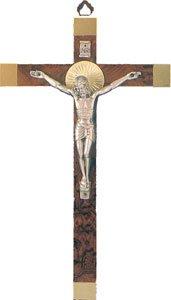 Brosche Holz (24cm Wand aufhängen Kruzifix Kreuz in Holz mit Gold Highlights Risen Christ und Doppel Herz Brosche Zinn Token Love ol1067)