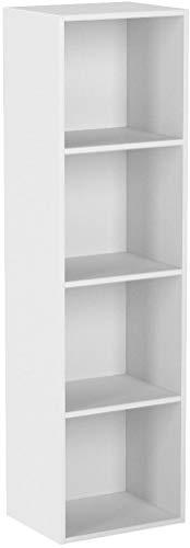 Homfa Landhaus Bücherregal Bücherschrank 4 Nischen Standregal Aktenregal Bücher Regal Akten Schrank Universal Regal Weiß (Weiß 4 Nischen)