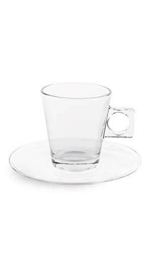 Excelsa bahia set 6 tazzine caffe con piattino, vetro, trasparente