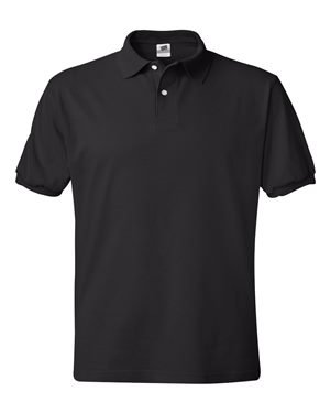 Hanes Men's Cotton-Blend EcoSmart® Jersey Polo 5XL Black (Jersey Blend)