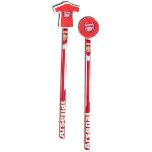 Arsenal FC Football Club 2 Pack Pencil Set With Kit Badge Toppers Official -