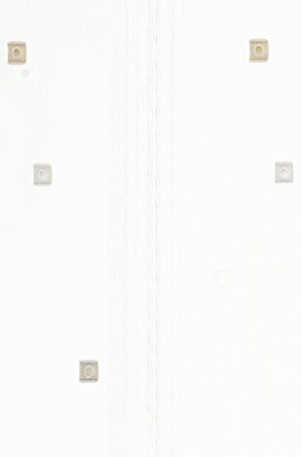 Clipraffstore Ilona ungeclipst 145cm lang x 82cm breit weiß mit farbigen Vierecken braun, grau