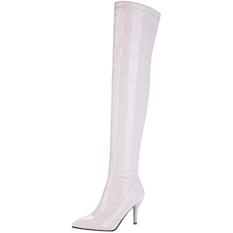 Kittcatt Femme Botte Vernis a Talon Winter Aiguille Bout Pointu Cuissarde Longue Sexy Zip Hiver Winter Talon Boots Chaussure - B07K7JZYD1 - b9b249