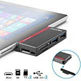 USB-3.0-Hub, voastek Surface Pro Hub Combo Adapter mit 2 Port USB 3.0 SD & 2 TF/Micro SD Memory Card Reader für Microsoft Surface Pro 4/Pro 3 (Reader-hub Memory Card)