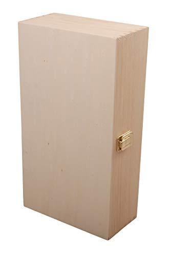 Myboxes - scatola in legno naturale con chiusura in metallo, che può essere utilizzata anche come portabottiglie di vino 19,5 x 10 x 35,5 cm