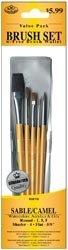 Royal Brush 325111 Brush Set Value Pack Sable-Camel 5-Pkg-Shader 4 Round 1 3 5 Flat .63 in. by ROYAL BRUSH - Value Pack Von Camel