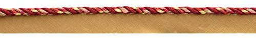 0316MLT PR15 Schnur mit Lippe, klein, mehrfarbig, Kamelbeige, geschmolzene Lava, Strandholz, Ziegelsteinstaub, dunkler Rost, chinesisches Rot, 5 mm Schnur mit Lippe, Stil: Sunset - 1 Yard = 91 cm (Dunkle Lippen)