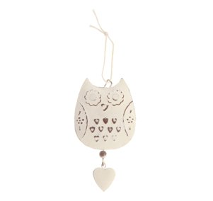 HANGING OWL DECORATION VINTAGE WHITE HOME DECOR BEDROOM BATHROOM KITCHEN GIRLS by RJB Stone