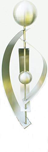 Gartendeko Skulptur Stab Daniela Edelstahl 120 cm mit 2 Edelstahlkugeln