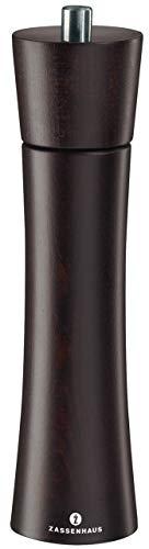 Zassenhaus Salzmühle Frankfurt 24 cm, Buche dunkelbraun mit stufenlos verstellbarem Hochleistungs-Keramikmahlwerk, befüllt