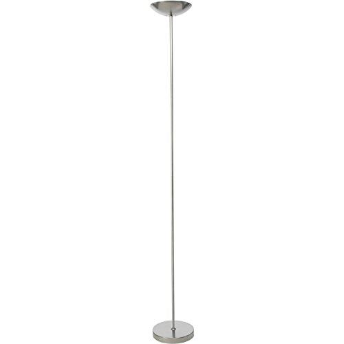 Brilliant 93034/58 Jersey Deckenfluter mit Fußdimmer, Metall, 230 W, R7s, silber, 22 x 22 x 177 cm