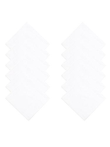 WANYING 12 Stücke Herren Weiße Taschentücher Stofftaschentücher mit Streifen 100% Baumwolle 40cm*40cm