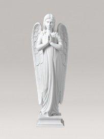 Serafinum Grabengel Skulptur aus Marmorguss - Betender Engel / 63x22x15cm (HxBxT) / Weiß (Engel-garten Betender Statue)