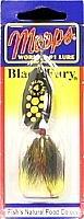 Mepps Black Fury Dressed Treble Angeln Lure, 1/85g, Yellow Dot/schwarz gelb Schwanz