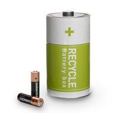 Monkey Business Recycling Batteriefach kann Fach zwei Fächer zur Entsorgung von Altbatterien Grün