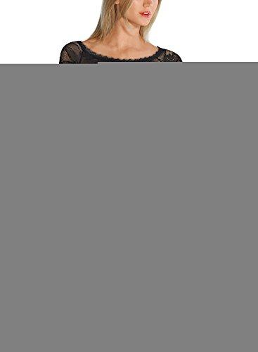 MIUSOL Damen Spitzenkleid Elegant Cocktail U-Ausschnitt Langarm Mini Party Abendkleid Schwarz M - 4