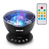 elegantstunning Ocean Wave Music Projector Night Light Remote Control Lamp with Built-in Mini Music Player 12 LED Beads & 7 Colorful Lights for Bedroom Living Room Decor