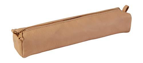 Clairefontaine 8299C - Une trousse carré 22x4x4 cm en cuir naturel