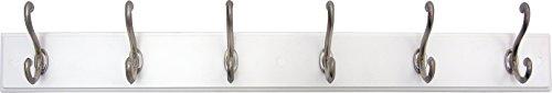 Headbourne 93785Hakenleiste/Garderobe mit 6Satin Nickel Haken, weiß Board -