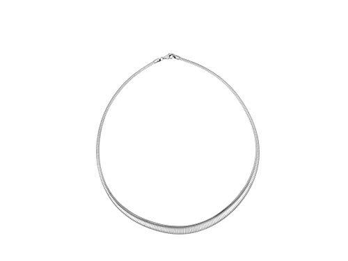 Nini Jewels, Halskette aus rhodiniertem Silber 925. Klassische Omega-Halskette mit abgestufter Dicke von 4 bis 8 mm. Handwerklich hergestellter Schmuck, Made in Italy