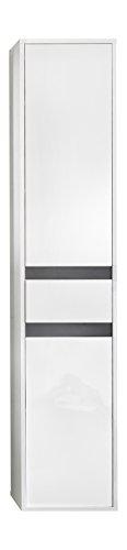 trendteam Badezimmer Hochschrank Schrank Sol, 35 x 172 x 31 cm in Korpus Weiß, Front Weiß Hochglanz mit viel Stauraum und einem verstellbaren Einlegeboden