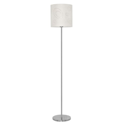 beautiful floor lamp with patterned fabric shade in beige color