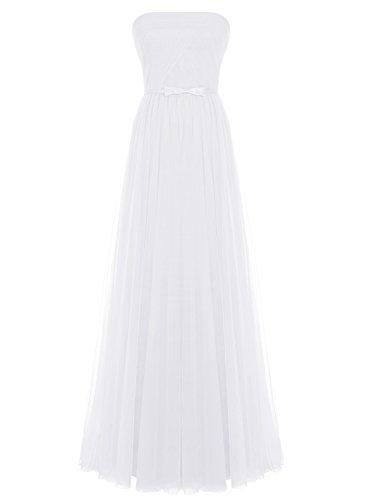 Bbonlinedress Damen Tüll Abendkleid Strapless Ballkleid mit Schleife Lang Brautjungfernkleider Weiß 44W