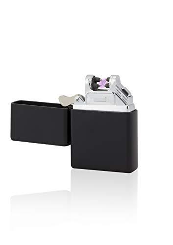 TESLA Lighter T03 Lichtbogen-Feuerzeug, elektronisches USB Feuerzeug, Double-Arc Lighter, wiederaufladbar, Schwarz
