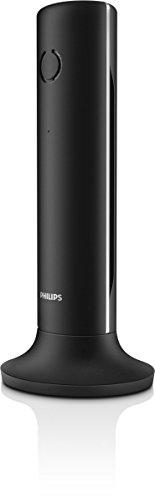 Philips M3351B/38 Linea Designtelefon mit Anrufbeantworter (1 Mobilteil) mit silbernen Akzenten schwarz Philips Telefon
