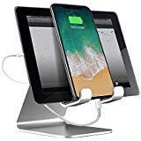Supporto Tablet,Daite Supporto in alluminio per Smartphone e Tablet portatile Docking Station Supporto da tavolo portatile for ipad iPhone Samsung Galaxy Tab series Kindle Tablets- - Argento
