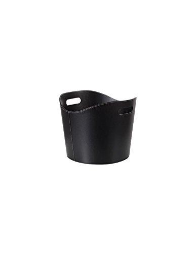 Perel - Cesta para leña de cuero negro