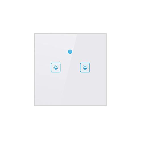 TAOtTAO EU Smart WiFi One/Two/Drei-Wege-Schalter für Amazon Alexa/Google Home App-Steuerung Quadratischer WiFi-Panel-Schalter (Zwei taste) -