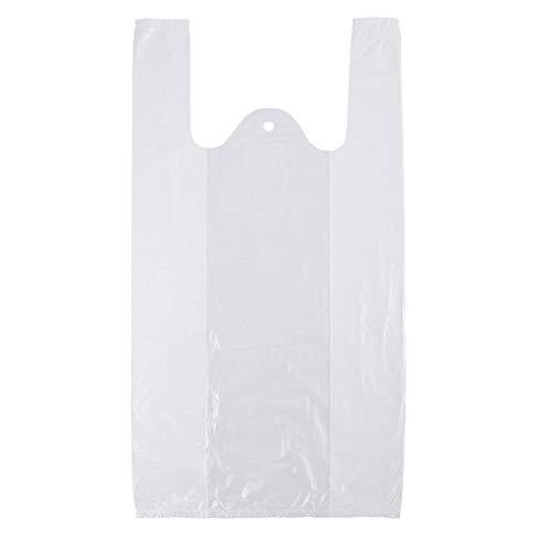Anladia 100 Stück Plastiktasche Plastiktüten Tragetaschen Weiß 53x28+15cm Einkaufstüten PolyBeutel Beutel Tüten (100, Weiß 53x28+15)