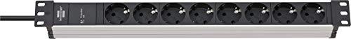 """Oferta de Brennenstuhl regleta enchufes Alu-Line 19"""" para armario rack con 8 tomas y protección sobretensión (unidad de distribución, sin interruptor, cable de 2 m, protector sobrecarga hasta 19.500 A)"""
