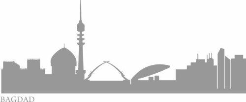 WANDTATTOO e519 Skyline Stadt - Bagdad (Irak) 240x92 cm - silber (Blumen Aus Dem Irak)