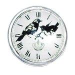 Crow Clock Design Snap Button Glass Chunk Charm