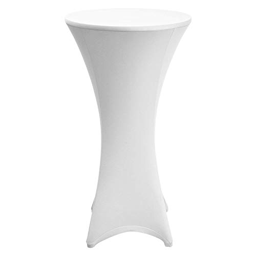 Beautissu Housse de table de bistrot - Mange debout - Deco Cocktail - Stretch spandex - Stella - 60-65cm - Blanc
