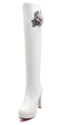 YE Damen Spitze High Heels Plateau Overknee Langschaft Stiefel mit Blumen Blockabsatz Kniehohe 10cm Absatz Elegant Rote Sohle Boots Weiß