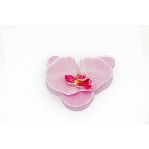 Pince avec orchidée - Blanc/lignes mauves