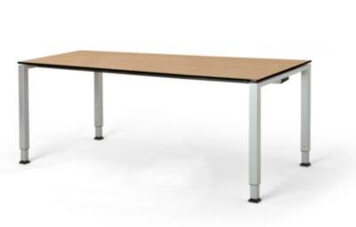 mauser Rechtecktisch, Fußform Quadratrohr - HxBxT 650 – 850 x 1800 x 900 mm, Vollkernplatte, Gestell alufarben - Tischsysteme Bürotische...