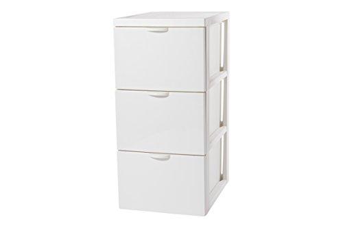 Iris SCF-303 Style Chest Flat Design Schubladenschrank/Schubladenbox/Rollwagen/Rollcontainer, mit Rollen, flach, Kunststoff, weiß (Iris Rollen)