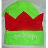 Confezione da 6 bambini 'Santa's Helper' Red and Green Christmas Elf Hat - Christmas Fancy Dress